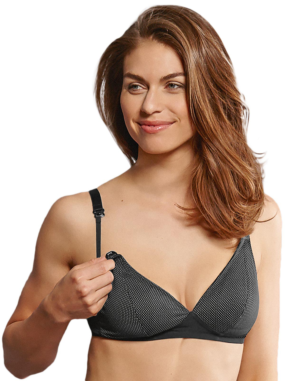 afb9e97b80992 Miss Mimi Wire Free Nursing Bra 2-section Triangular Cups Black 5078 ...