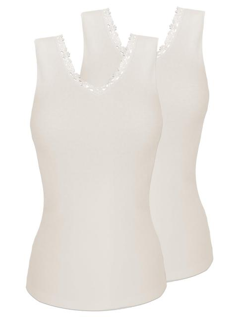 Sangora 2er Sparpack Damen-Unterhemd 8050910 = S in wollweiss