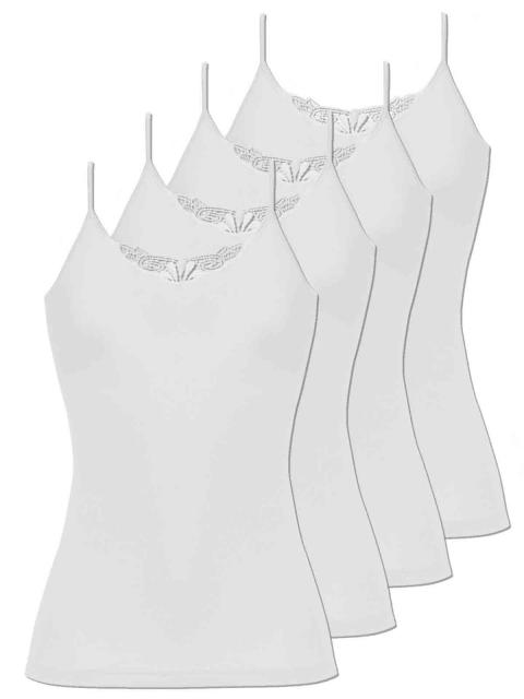 Comazo 4er Sparpack Damen Hemd Spaghettiträger, 1191900, 38, weiss weiss   weiss   38