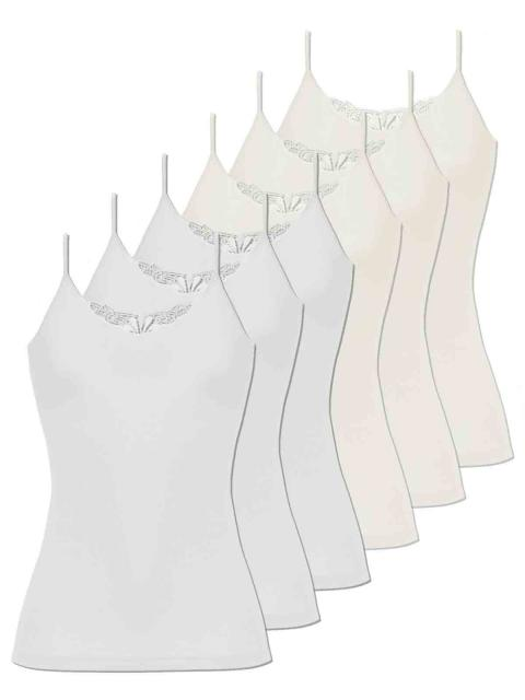 Comazo 6er Sparpack Damen Hemd Spaghettiträger, 1191900, 40, offwhite-weiss offwhite   weiss   40
