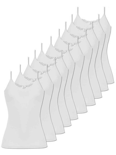 Comazo 10er Sparpack Damen Hemd Spaghettiträger, 1191900, 46, weiss weiss | weiss | 46