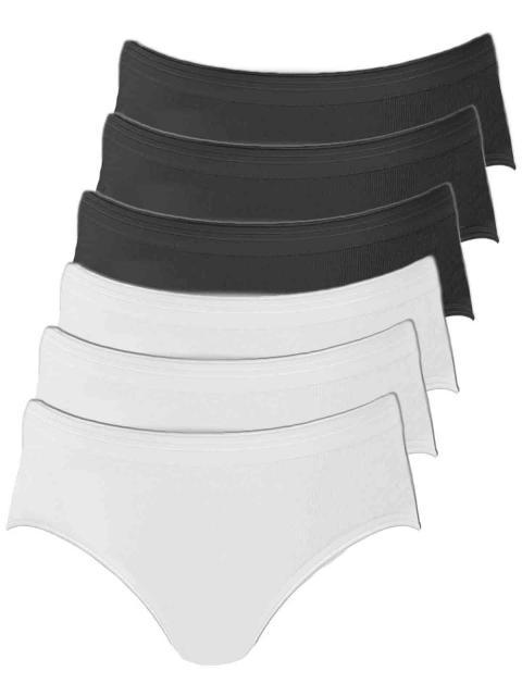 Comazo 6er Sparpack Damen Hüftslip, 1361912, 46, haut-schwarz haut   schwarz   46