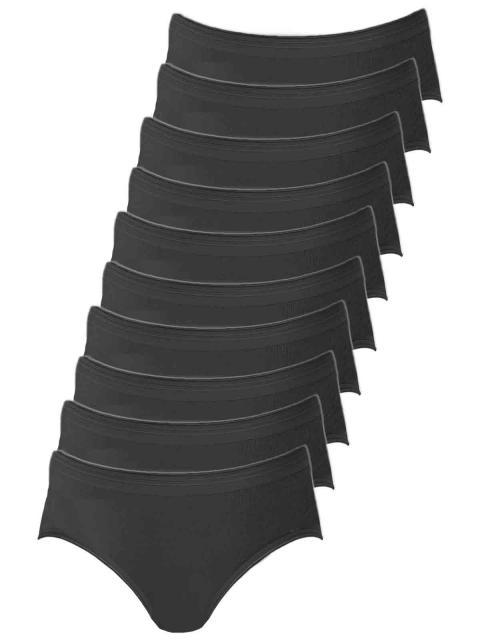 Comazo 10er Sparpack Damen Hüftslip, 1361912, 42, schwarz schwarz | schwarz | 42