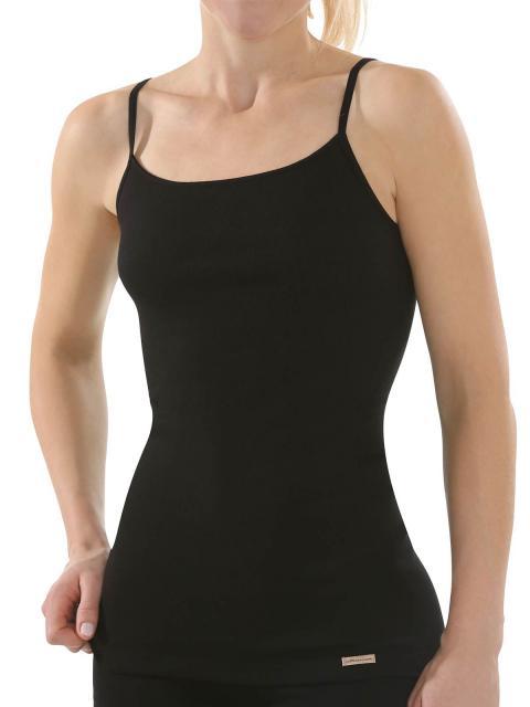 comazo earth 6er Sparpack Damen Unterhemd Spaghettiträger 1192791, Gr.44, schwarz schwarz | 44