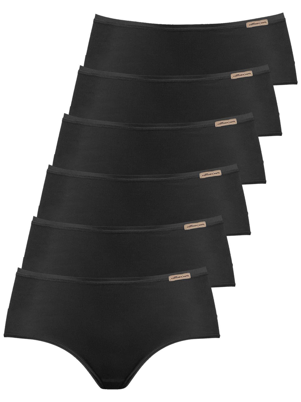 comazo earth 6er Sparpack Damen Panty 1092764, Gr.42, schwarz