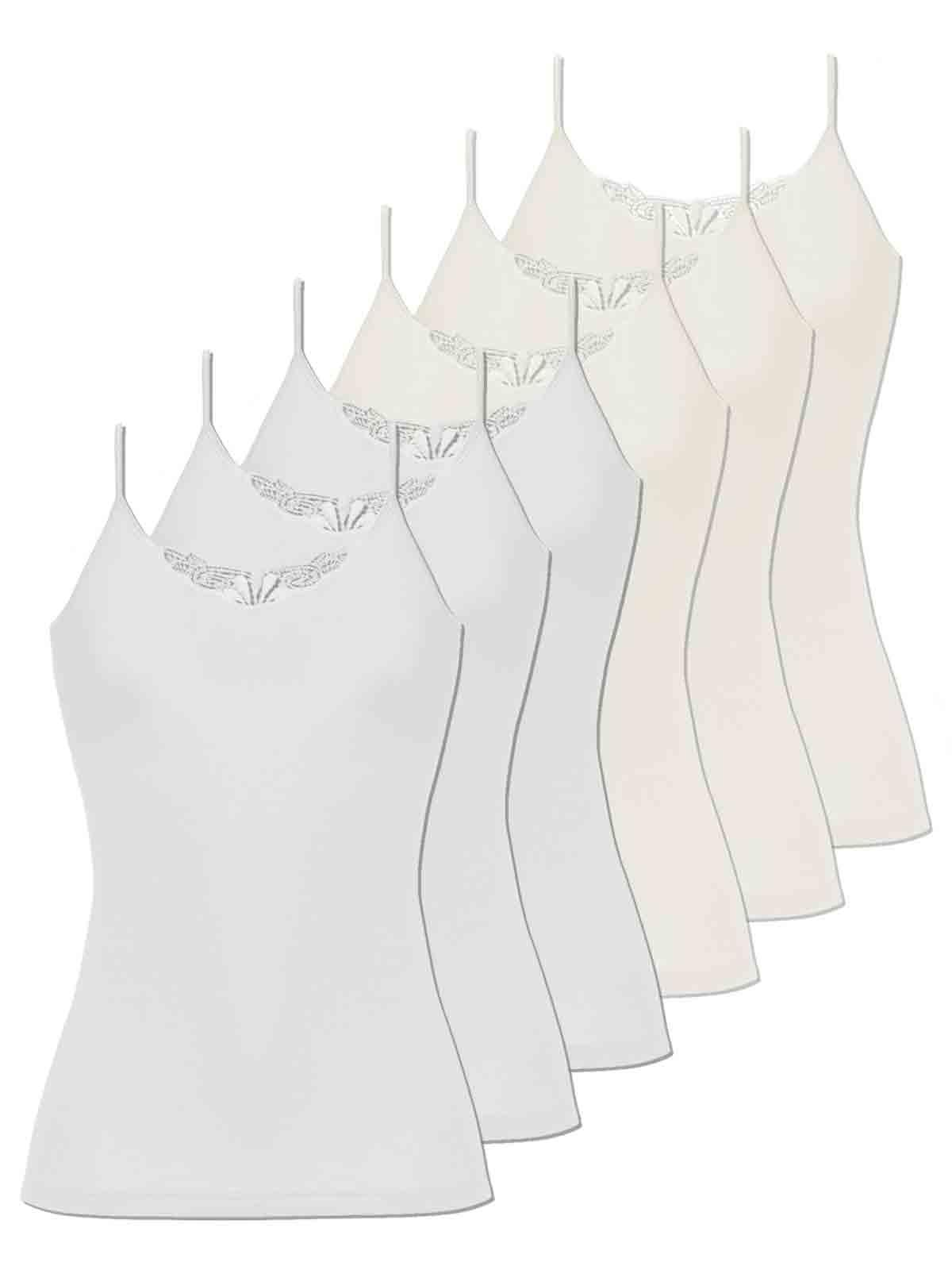 6er Sparpack Damen Hemd Spaghettiträger